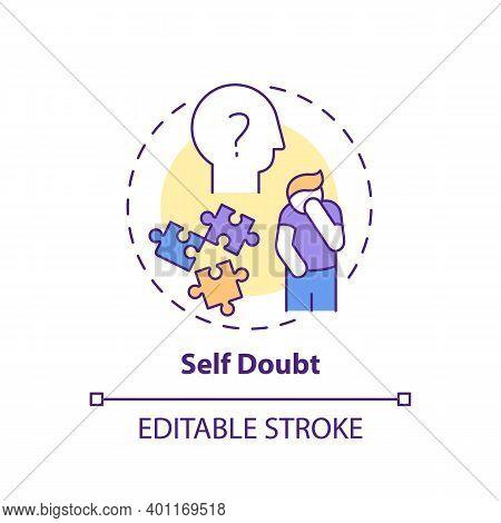 Self-doubt Concept Icon. Procrastination Effect Idea Thin Line Illustration. Emotional Suffering. Pe