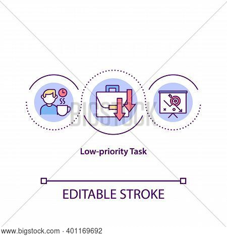 Low Priority Task Concept Icon. Not Important Things To Do During Your Work Day. Scheduling Tasks Id