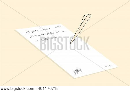 Writing On An Open Note Book To Write Business Draft. Write Business Diary Concept. Trendy Line Draw