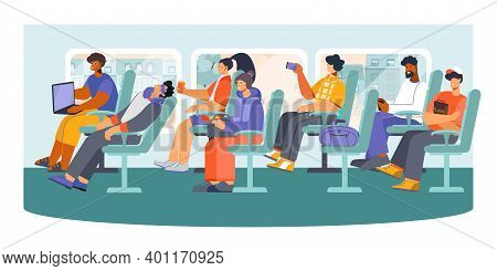 Public Transport Long Distance Bus Passengers Snoozing Making Photos Messaging From Phone Pc Flat Co