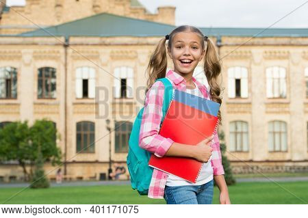 Informal Education. Happy Child Hold Books Carrying Backpack. Informal Learning. School Education. C