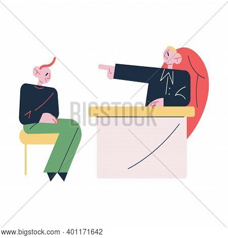 Unhappy Young Man Office Worker Sitting And Getting Dismissal From Angry Boss