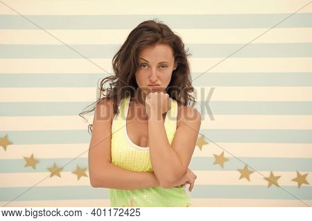 Its Girl Things. Sexy Girl With Long Brunette Hair. Pretty Girl In Casual Style. Sensual Girl With S