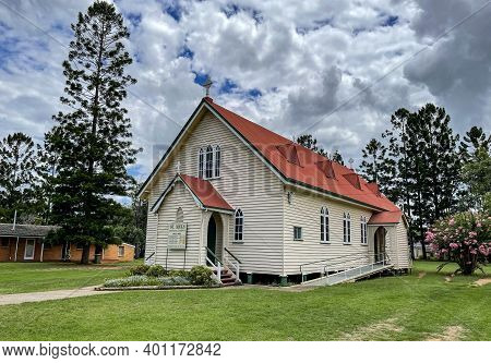 Esk, Australia - December 25, 2020: View Of The St Mel Catholic Church Built In At The Turn Of The 1