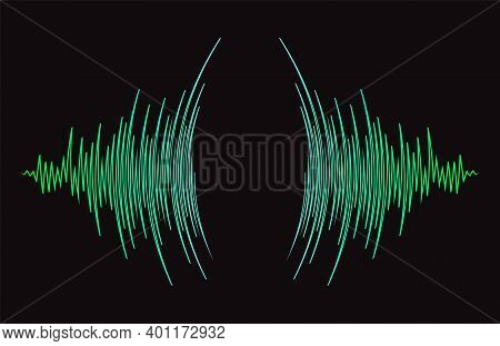 Radial Sound Wave Curve Banner. Jpeg Colorful Equalizer Background. Abstract Technology Cover For Mu