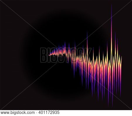 3d Colorful Sound Waves Oscillating On Black Background. Abstract Electronic Music Poster. Modern Au
