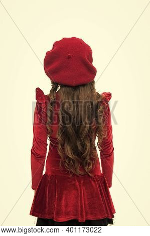Small Girl Looking Stylish. Hairdresser Salon. Stylish Girl In Red Beret. Kid Wearing French Style B