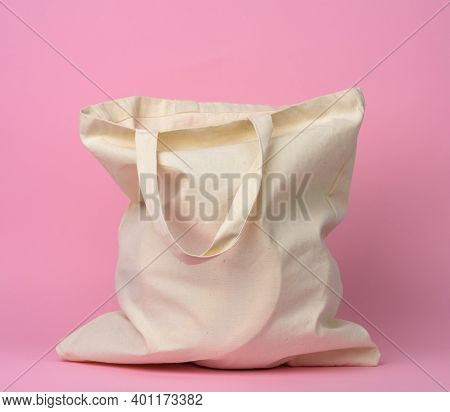 Beige Textile Bag With On A Pink Background, No Plastic