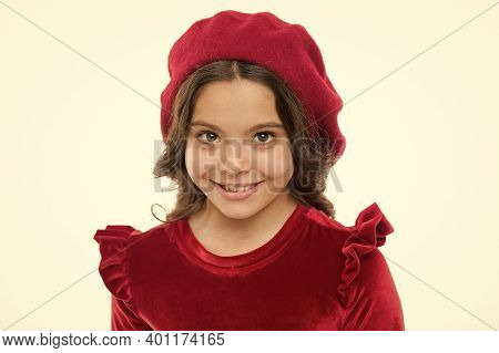 Facial Care. Cheerful Kid Wearing French Style Beret. Happy Childrens Day. Kid Fashion And Beauty. S
