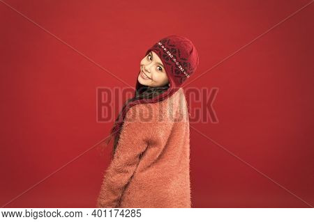 Change Your Look This Winter. Happy Child With Beauty Look Red Background. Vogue Look Of Small Fashi