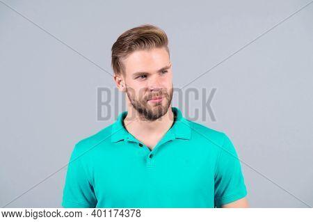 Man In Blue Tshirt, Fashion. Macho With Bearded Face, Blond Hair, Haircut. Fashion Style Trend. Barb