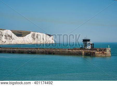 White cliffs of Dover, UK as seen from ferry approaching Dover Port
