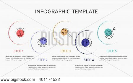 Business Infographic Template. Vector Design With Icons, Text And 5 Options Or Steps. Blank Space Fo