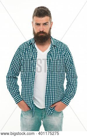 Handsome Macho. Caucasian Guy With Beard And Mustache Isolated On White. Mature Male Hipster Has Ser