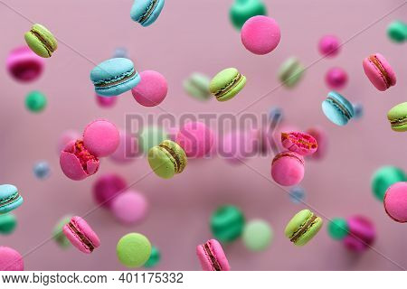 Levitation Of Macaroons, Creative Food Concept. Bold Vibrant Pink, Mint Green, Mint Blue And Magenta