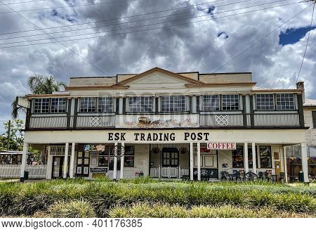 Esk, Australia - December 25, 2020: Facade Of The Country Trading Hotel, Located In The Main Street