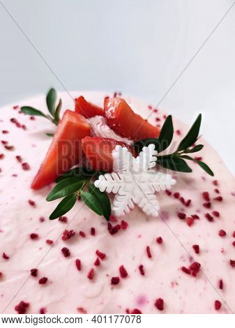 Sweet Pink Cream Cheese Cake Biscuit Pastry Tasty Dessert With Strawberry Berry Snowflake Leaf Branc