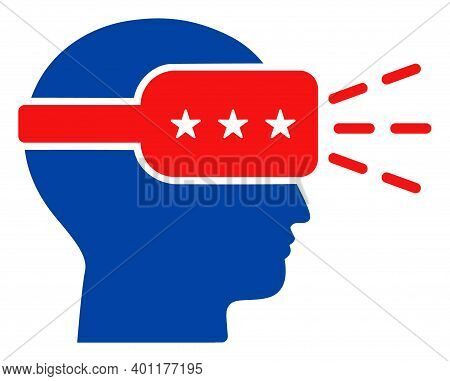 Augmented Reality Icon In Blue And Red Colors With Stars. Augmented Reality Illustration Style Uses