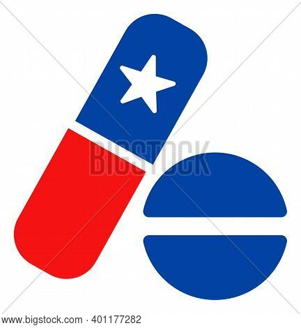 Medical Pills Icon In Blue And Red Colors With Stars. Medical Pills Illustration Style Uses American