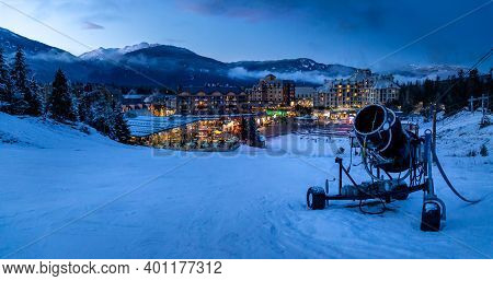 View Of Whistler Village And Ski Runs At Dusk.