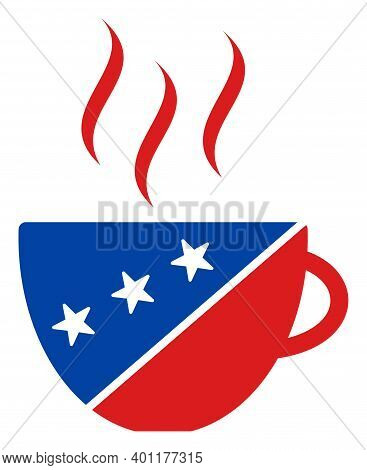 Coffee Cup Icon In Blue And Red Colors With Stars. Coffee Cup Illustration Style Uses American Offic