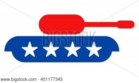 Armour Tank Icon In Blue And Red Colors With Stars. Armour Tank Illustration Style Uses American Off