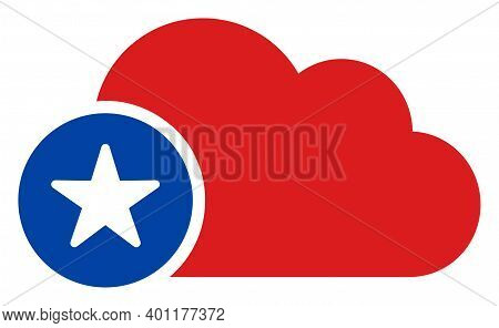 Cloud V2 Icon In Blue And Red Colors With Stars. Cloud V2 Illustration Style Uses American Official