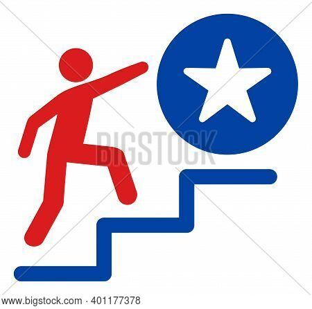 Man Steps To Success Icon In Blue And Red Colors With Stars. Man Steps To Success Illustration Style