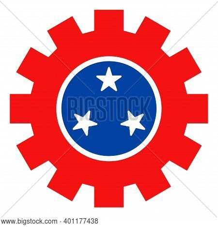 Service Gear Icon In Blue And Red Colors With Stars. Service Gear Illustration Style Uses American O