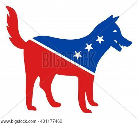 Dog Icon In Blue And Red Colors With Stars. Dog Illustration Style Uses American Official Colors Of
