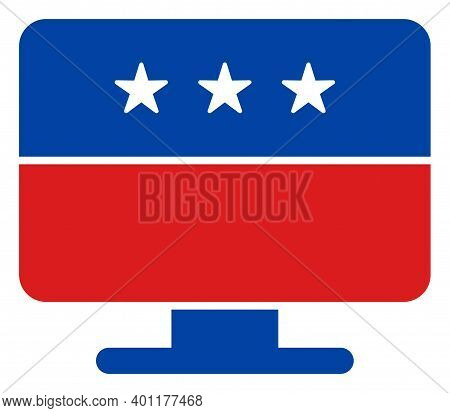 Display Icon In Blue And Red Colors With Stars. Display Illustration Style Uses American Official Co