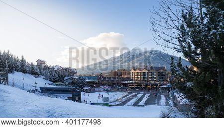 Whistler, Bc, Canada - Dec 27, 2020: View Of Whistler Village And Ski Runs At Dusk.