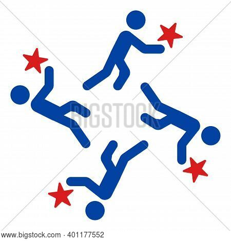 Running Men Icon In Blue And Red Colors With Stars. Running Men Illustration Style Uses American Off