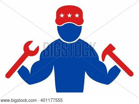 Mechanic Guy Icon In Blue And Red Colors With Stars. Mechanic Guy Illustration Style Uses American O