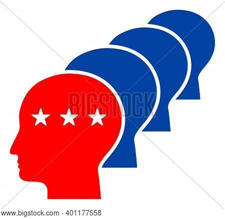 Men Heads Icon In Blue And Red Colors With Stars. Men Heads Illustration Style Uses American Officia