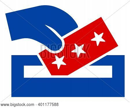 Election Box Icon In Blue And Red Colors With Stars. Election Box Illustration Style Uses American O