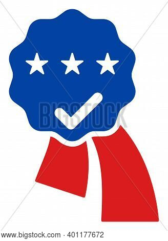 Award Seal Ribbons Icon In Blue And Red Colors With Stars. Award Seal Ribbons Illustration Style Use