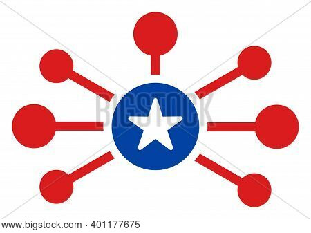 Node Links Icon In Blue And Red Colors With Stars. Node Links Illustration Style Uses American Offic