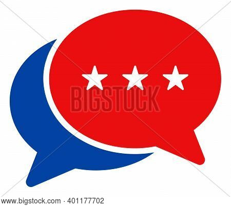 Chat Messages Icon In Blue And Red Colors With Stars. Chat Messages Illustration Style Uses American