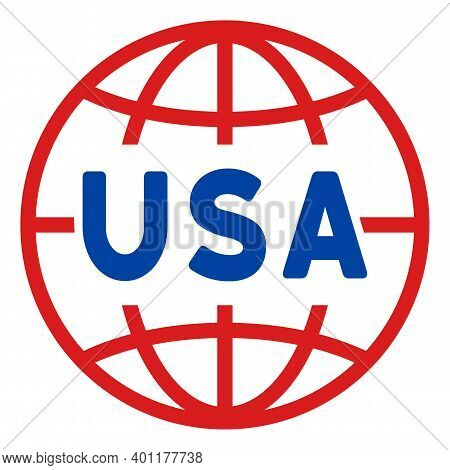 Usa World Icon In Blue And Red Colors With Stars. Usa World Illustration Style Uses American Officia