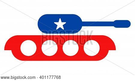 Military Tank Icon In Blue And Red Colors With Stars. Military Tank Illustration Style Uses American