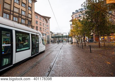 Strasbourg, France - Nov 3, 2020: Almost Empty Street With One Tramway Public Transportation During