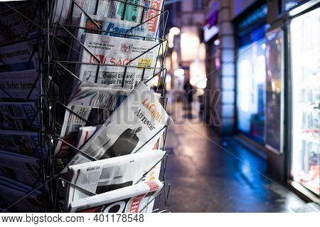 Strasbourg, France - Dec 4, 2020: Au Revoir Goodbye Text On La Croix Newspaper At French Press Kiosk