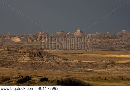 Ancient Formations On The Prairie In Badlands National Park