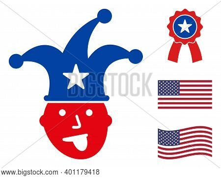 Joker Icon In Blue And Red Colors With Stars. Joker Illustration Style Uses American Official Colors