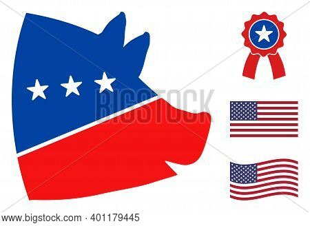 Pig Head Icon In Blue And Red Colors With Stars. Pig Head Illustration Style Uses American Official