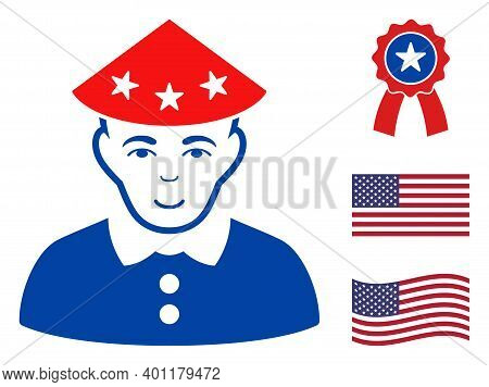 Chinese Peasant Icon In Blue And Red Colors With Stars. Chinese Peasant Illustration Style Uses Amer