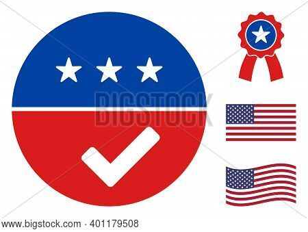 Accept American Icon In Blue And Red Colors With Stars. Accept American Illustration Style Uses Amer