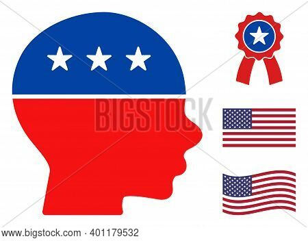 Child Head Icon In Blue And Red Colors With Stars. Child Head Illustration Style Uses American Offic