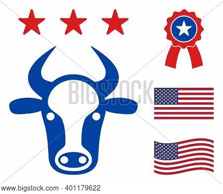 Cow Head Icon In Blue And Red Colors With Stars. Cow Head Illustration Style Uses American Official